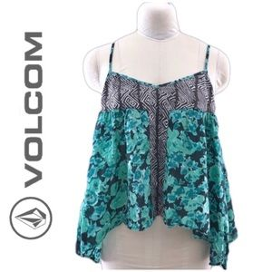 Volcom Tops - Volcom asymmetrical handkerchief green tank top